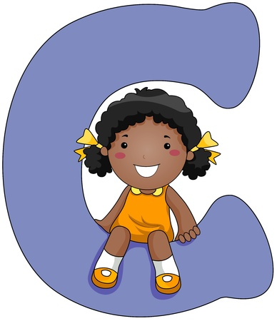 children school clip art: Illustration of a Little Girl Sitting on a Letter C