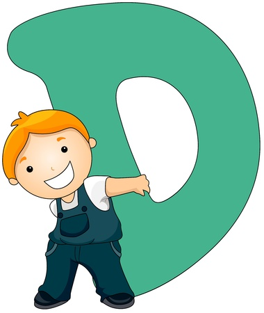 preschooler: Illustration of a Little Boy Carrying a Letter D on His Back Stock Photo