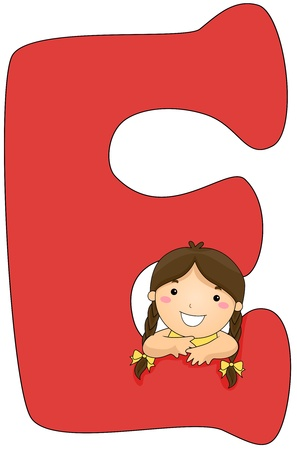 pigtail: Illustration of a Little Girl Resting Her Arms on a Letter E