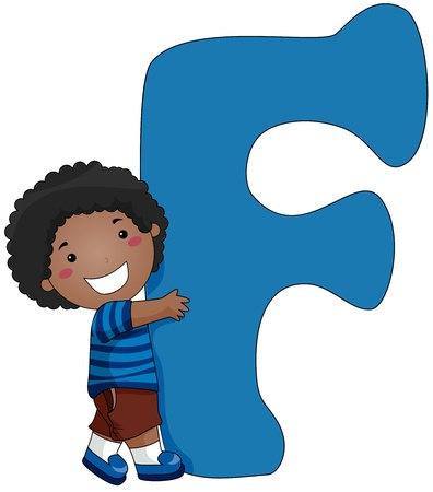cartoon boy: Illustration of a Little Boy Hugging a Letter F