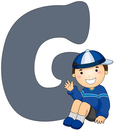 beside: Illustration of a Little Boy Sitting Beside a Letter G