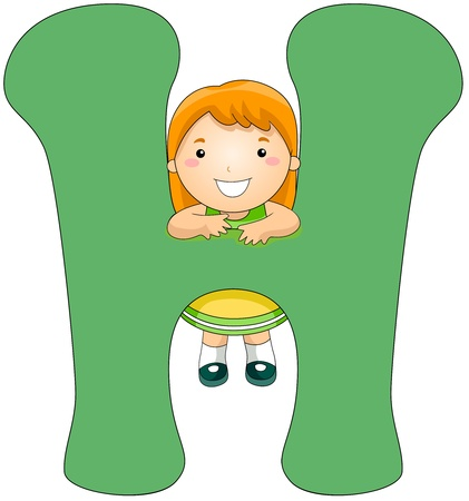cling: Illustration of a Little Girl Clinging on a Letter H