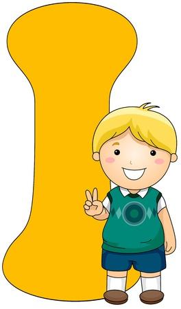 kiddie: Illustration of a Little Boy Posing Beside a Letter I