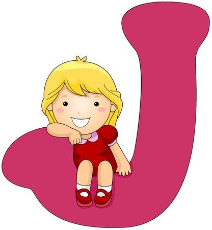 Illustration of a Girl Resting Her Arm on a Letter J illustration