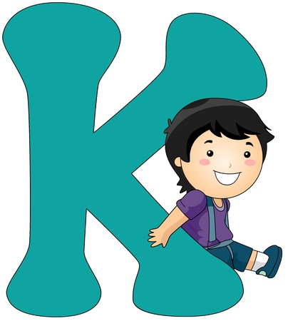 Illustration of a Boy Leaning Against a Letter K illustration