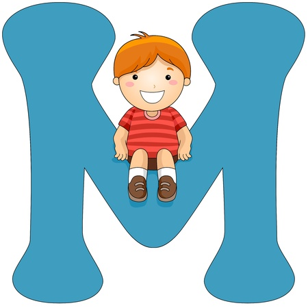 letter m: Illustration of a Little Boy Sitting on a Letter M Stock Photo