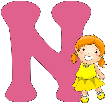 cutout: Illustration of a Girl Posing Beside a Letter N