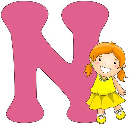 beside: Illustration of a Girl Posing Beside a Letter N