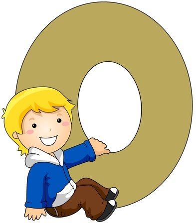 kiddie: Illustration of a Little Boy Holding on to a Letter O