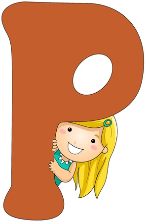 children clipart: Illustration of a Girl Peeking From Behind a Letter P