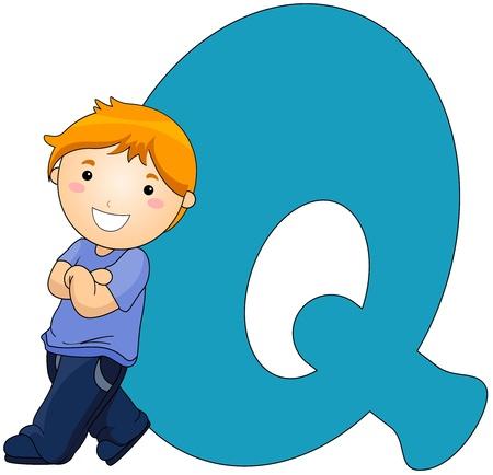 Illustration of a Little Boy Resting Against a Letter Q illustration