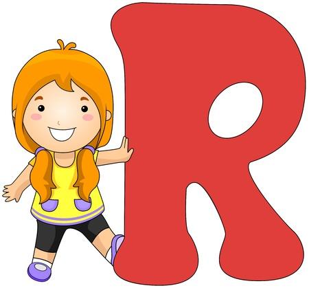 Illustration of a Girl Leaning Against a Letter R illustration
