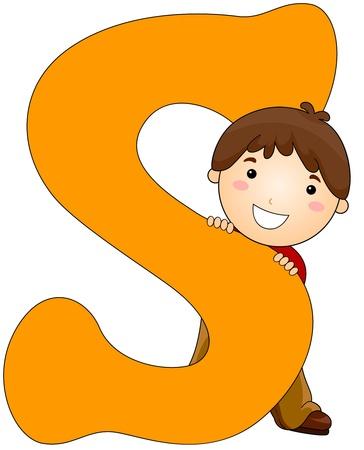 Illustration of a Little Boy Hiding Behind a Letter S Stock Illustration - 8427119