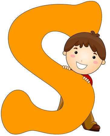 hid: Illustration of a Little Boy Hiding Behind a Letter S