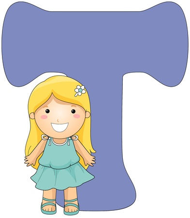 beside: Illustration of a Little Girl Posing Beside a Letter T