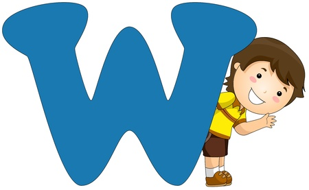letter w: Illustration of a Little Boy Peeking From Behind a Letter W