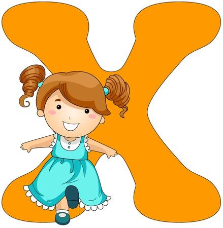 Illustration of a Little Girl Kicking Something While Standing Beside a Letter X illustration