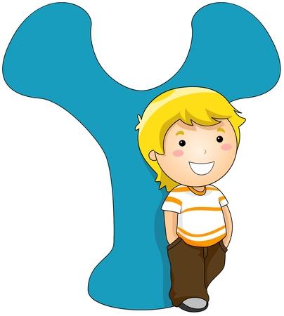 ni�o parado: Ilustraci�n de un ni�o permanente al lado de una carta Y
