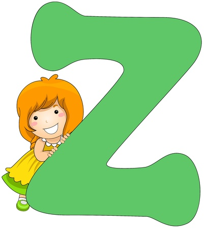 Illustration of a Little Girl Leaning Against a Letter Z Stock Illustration - 8427139