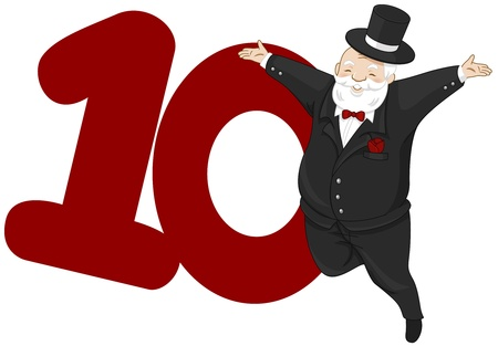10 number: Illustration of a Nobleman Leaping Beside a Number Ten