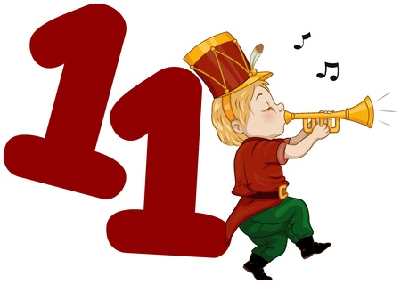 number 11: Illustration of a Piper Playing His Pipe Beside a Number Eleven Stock Photo
