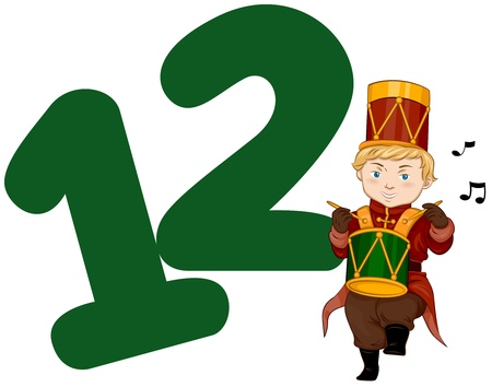 numbers clipart: Illustration of a Drummer Drumming His Drum Beside a Number Twelve