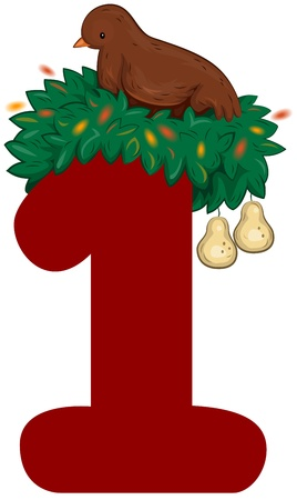 Illustration of a Partridge in a Pear Tree Sitting on Top of a Number 1 illustration