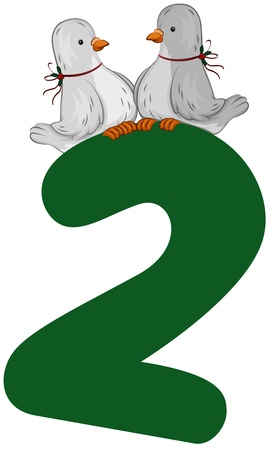 Illustration of Turtle Doves Sitting on Top of a Number 2 illustration
