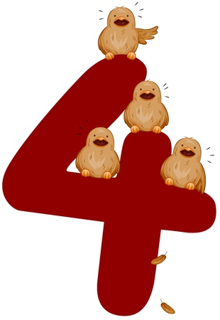 number 12: Illustration of Birds Chirping While Perched on a Number 4