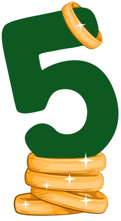 5 december: Illustration of a Number Five Sitting on Golden Rings Stock Photo