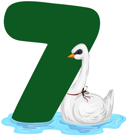12 days of christmas: Illustration of a Swan Swimming Beside a Number Seven Stock Photo