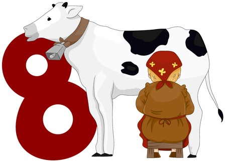 lady cow: Illustration of a Milkmaid Milking a Cow Beside a Number Eight