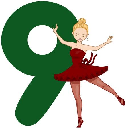 gente bailando: Ilustración de una señora bonita baile junto a un número nueve