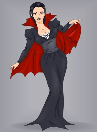 Illustration of a Pin-Up Woman Dressed in a Vampire Costume illustration
