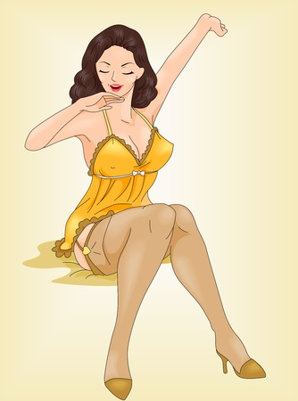 Illustration of a Pin Up Girl Stretching While Sitting on Her Bed illustration