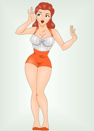 pinup girl: Illustration of a Pin Up Girl Listening to Something Stock Photo