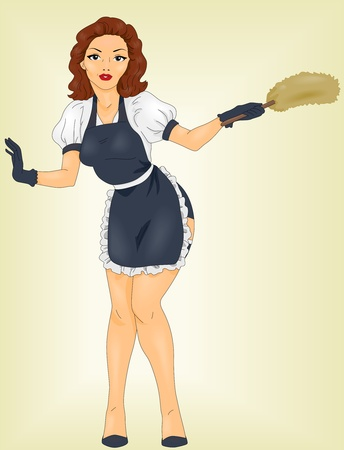 Illustration of a Pin UP Girl Wearing a Maids Uniform illustration