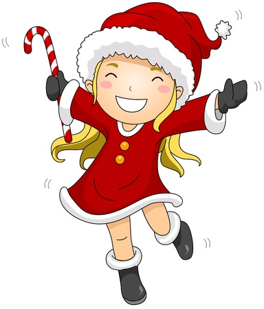 Illustration of a Girl Dressed in a Santa Claus Costume Leaping Playfully illustration