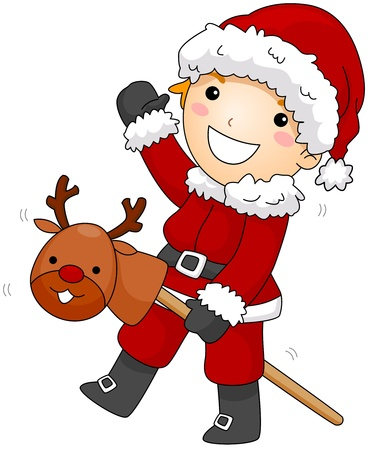 Illustration of a Boy in Santa Claus Costume Riding a Makeshift Reindeer Stock Illustration - 8427182