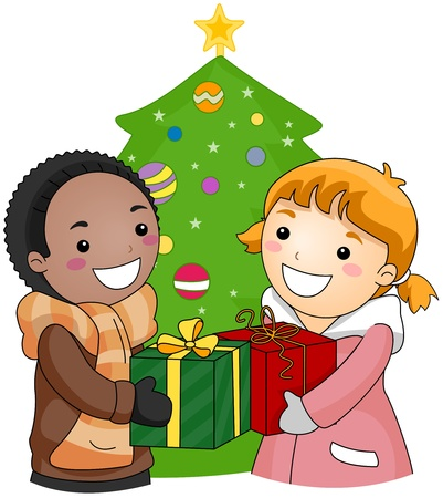 Illustration of a Boy and Girl Exchanging Gifts illustration