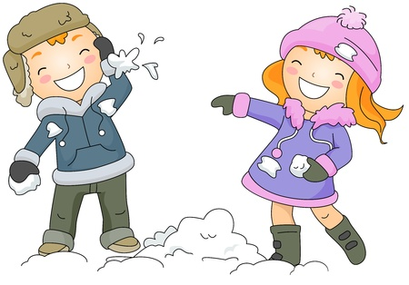 winter clothes: Illustration of a Boy and Girl Throwing Snow Balls at Each Other