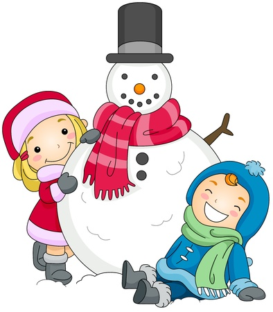 snowman: Illustration of a Boy and a Girl Posing Beside a Snowman Stock Photo