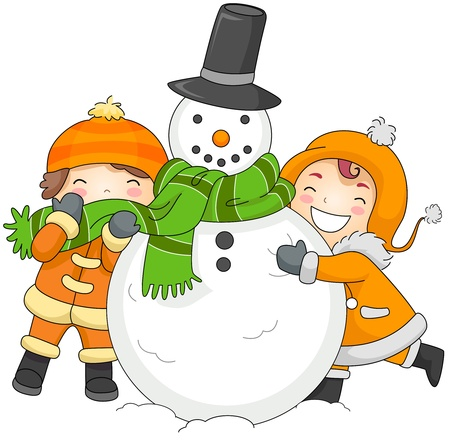 snuggling: Illustration of Kids Playing with a Snowman Stock Photo
