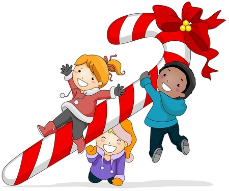Illustration of Kids Playing with a Huge Candy Cane Stock Illustration - 8427192
