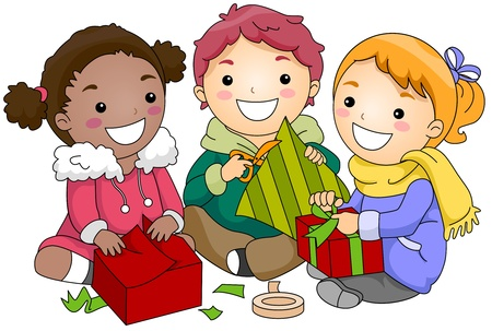 Illustration of Kids Wrapping Gifts