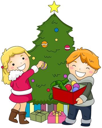 christmas deco: Illustration of Kids Decorating a Christmas Tree Stock Photo