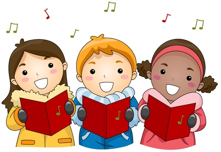 Illustration of Kids Singing Christmas Carols illustration