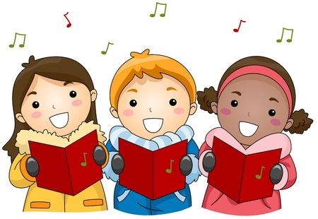 caroling: Illustration of Kids Singing Christmas Carols