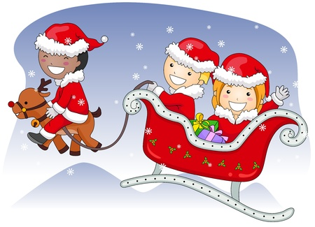 Illustration of Kids Dressed in Santa Claus Costumes Riding a Sleigh illustration