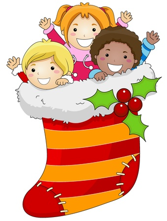 children art: Illustration of Kids Huddled Together Inside a Christmas Stocking Stock Photo
